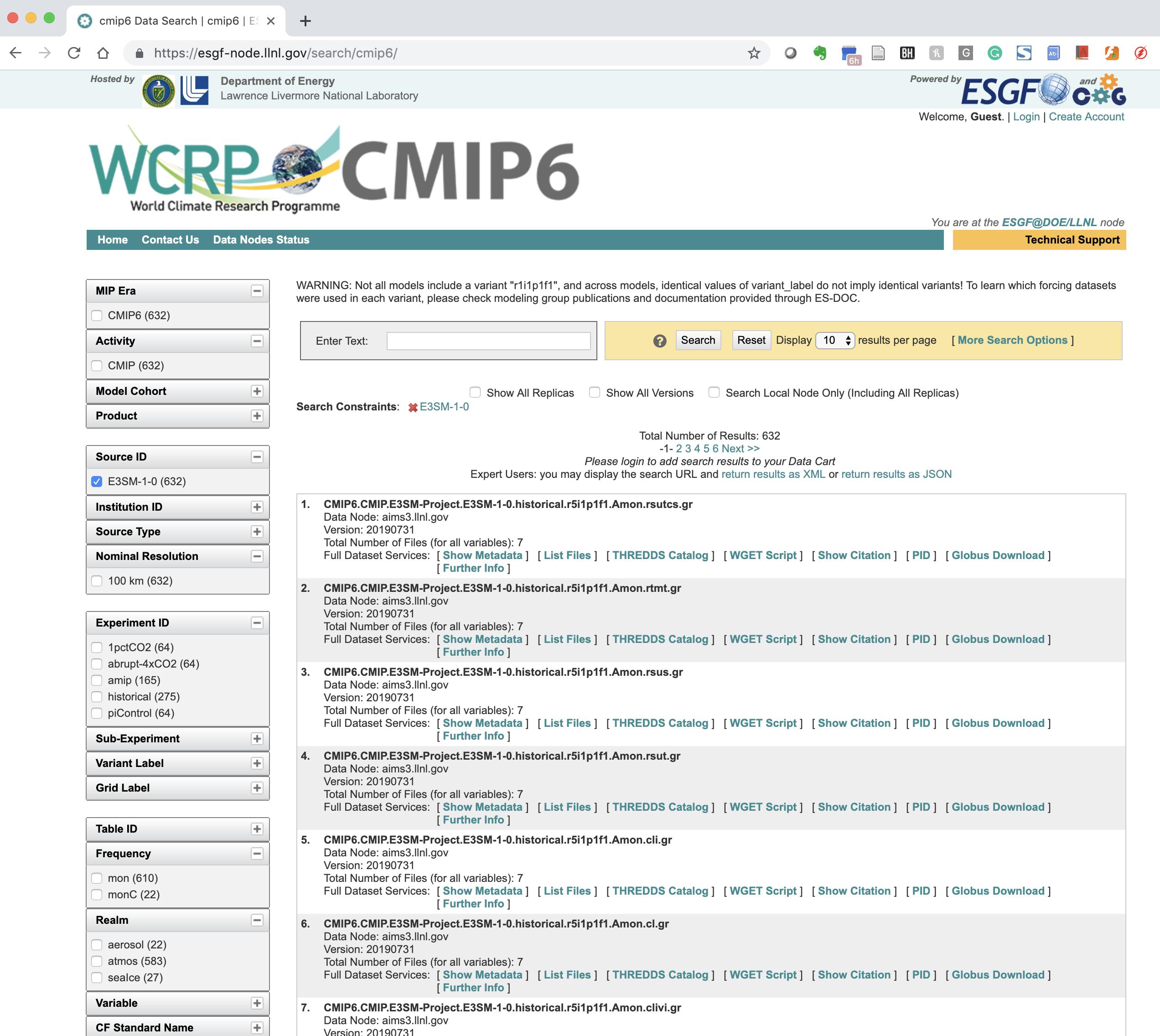 E3SM data in CMIP6 ESGF Archives