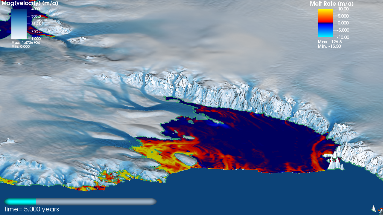 Movie frame from a coupled ice-ocean model simulation of the Antarctic ice sheet and the Southern Ocean