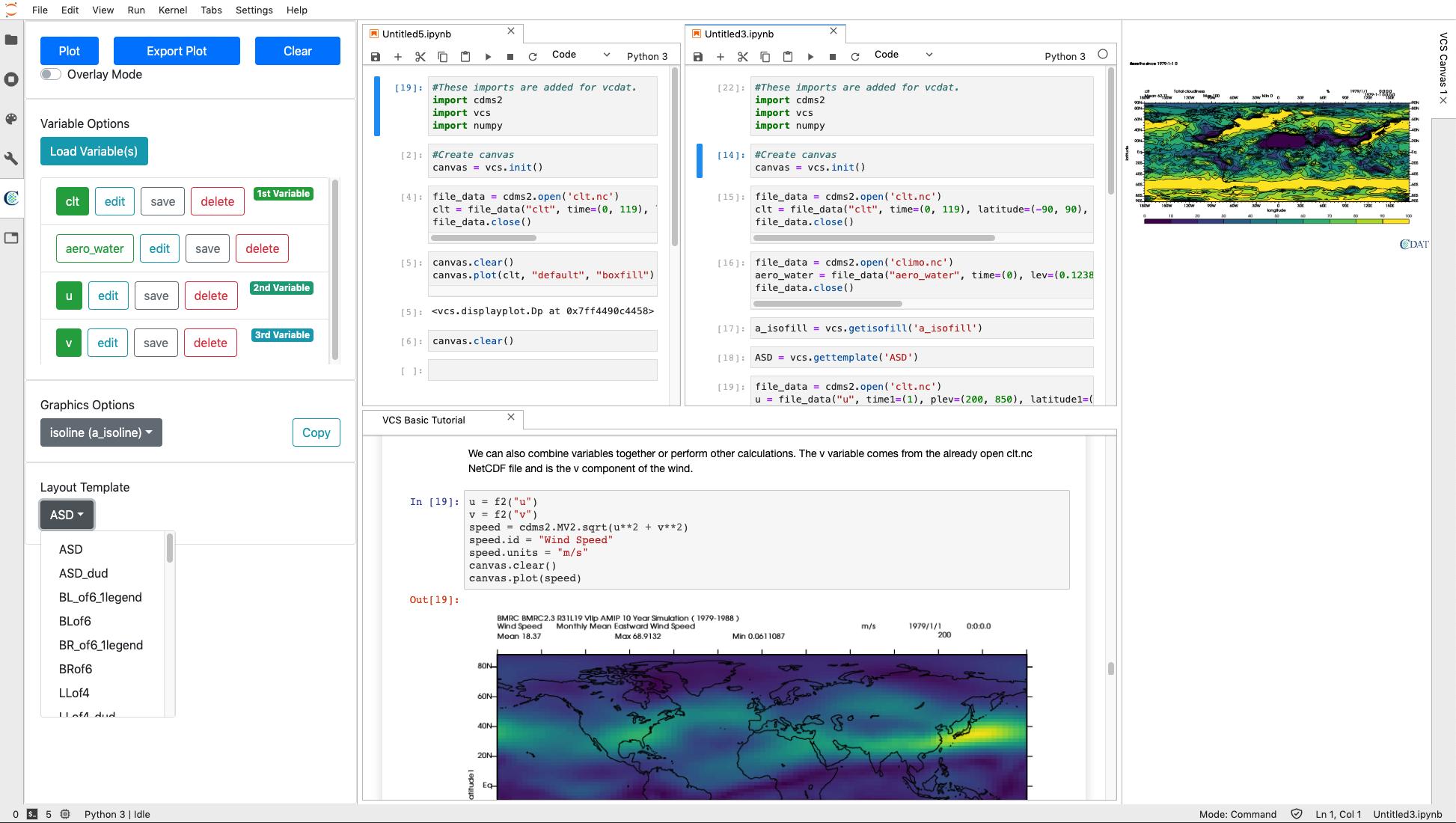 VCDAT screenshot with multiple notebooks open