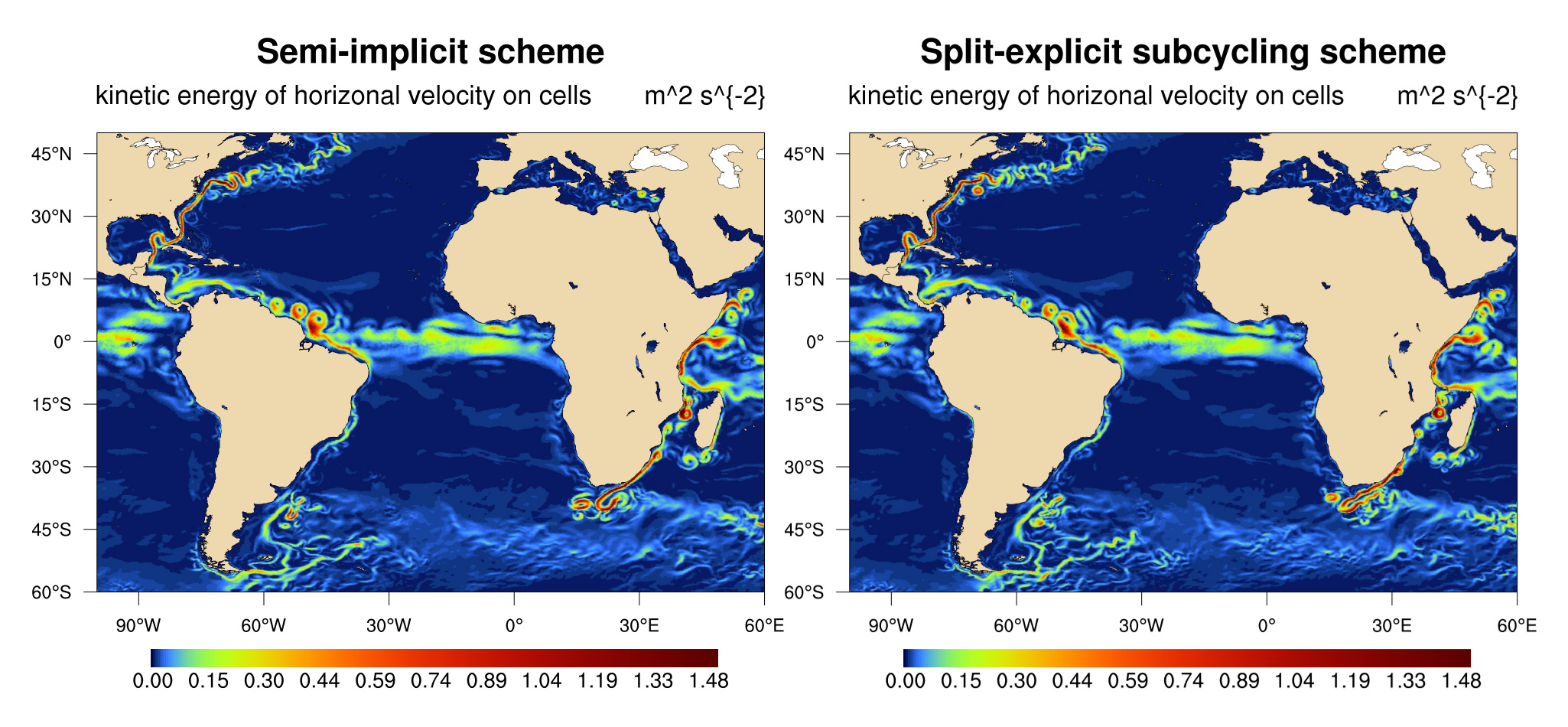 Comparison of semi-implicit and split-explicit ocean modeling schemes