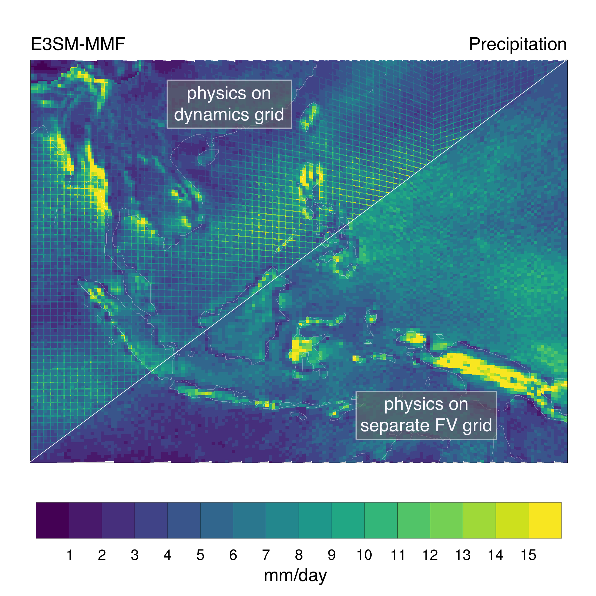 Time averaged precipitation from two ESM-MMF simulations