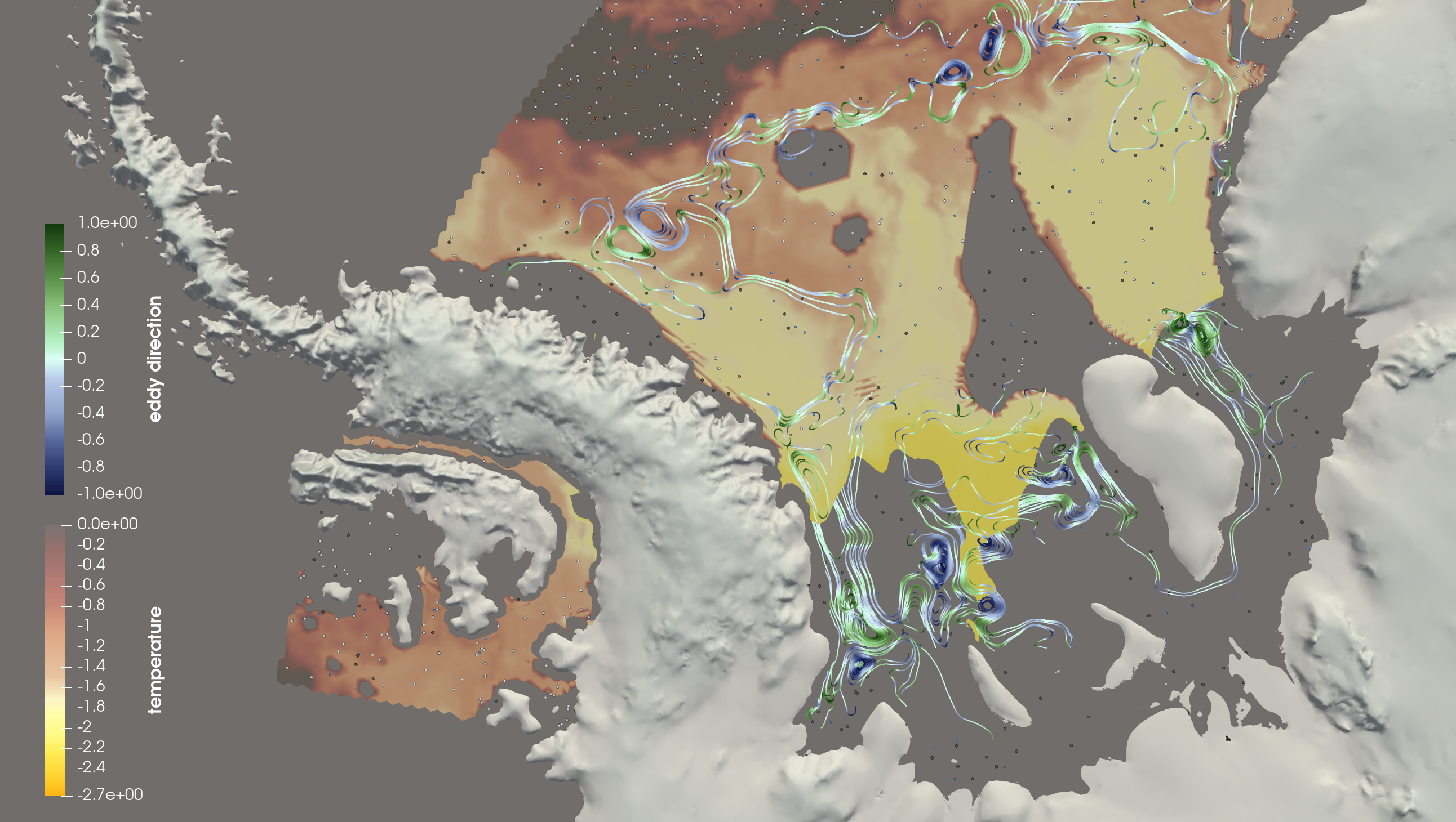 Visualization of the dynamics of ocean circulation beneath ice shelves