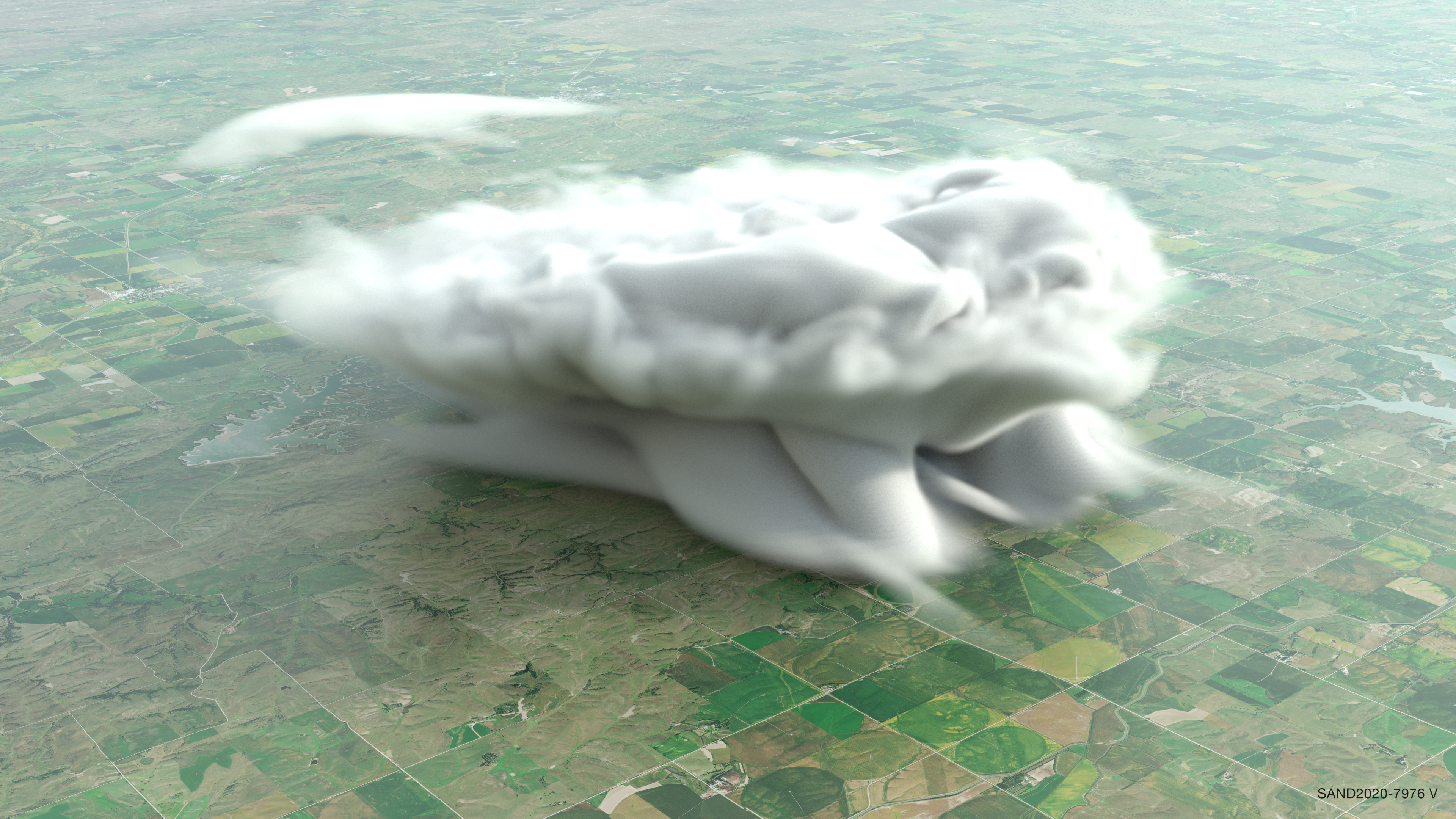 Volumetric rendering of cloud water and rain water with a photographic background
