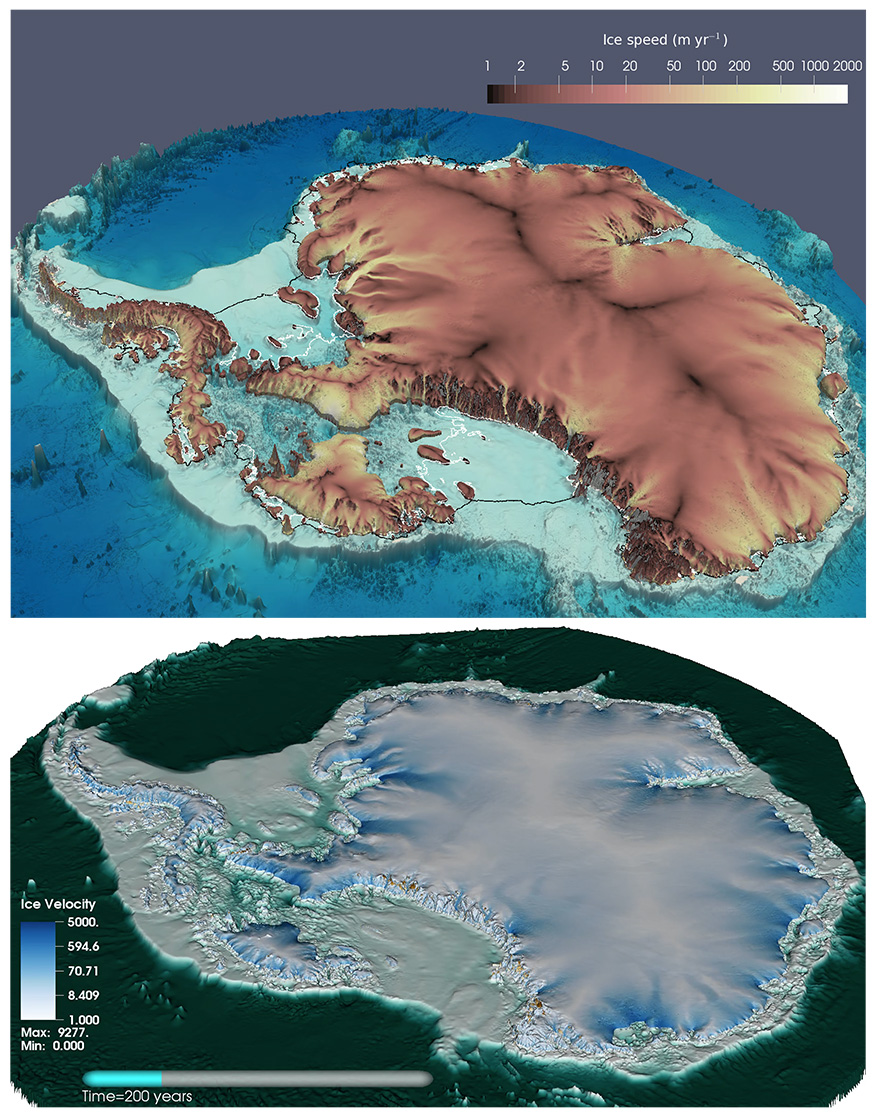 Image of MALI and BISICLES ice sheet models 200 years after all floating ice shelves are removed
