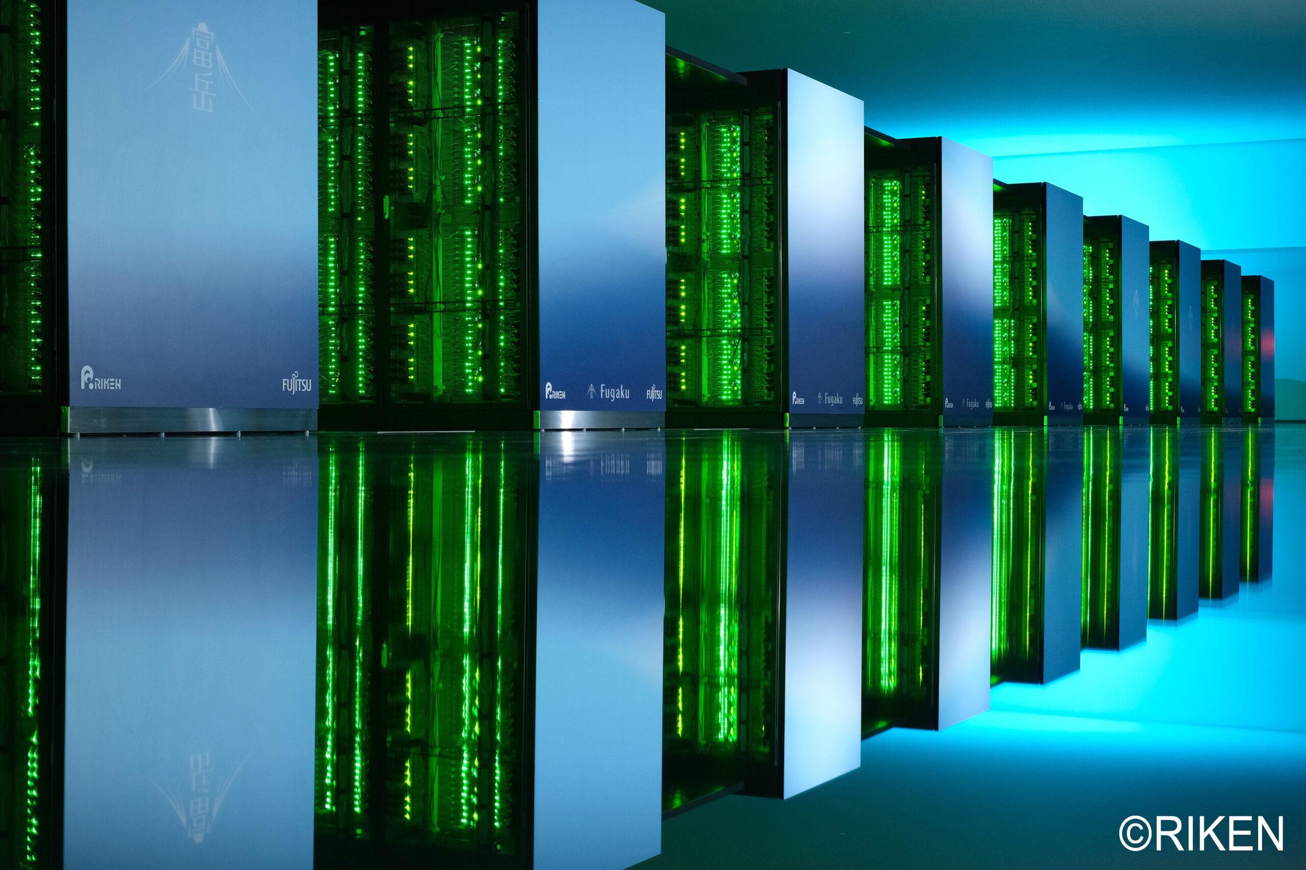 Image of Fugaku supercomputer with led lights on