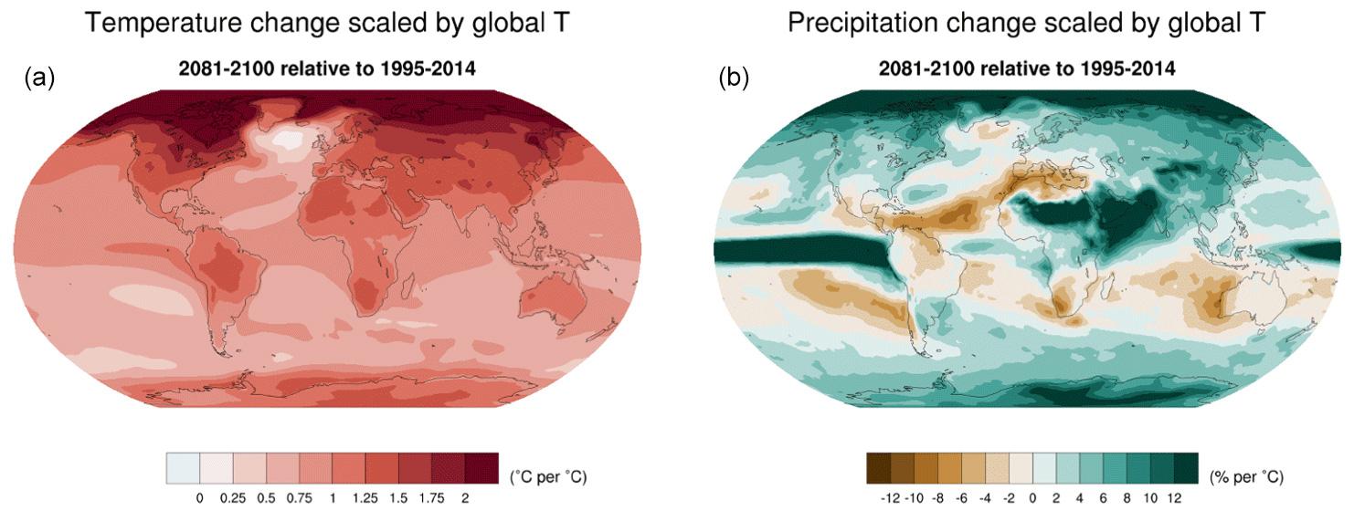 CMIP6 spatial pattern of temperature and precipitation